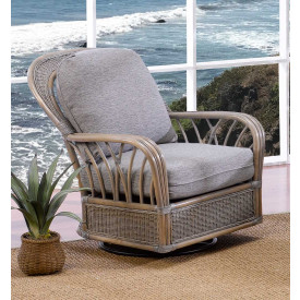 Oceanview Natural Rattan Swivel Glider Chair (Custom Finishes Available)