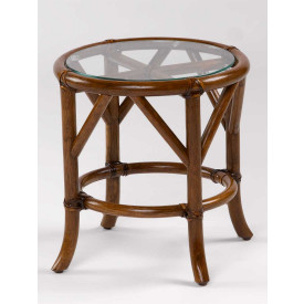 Rivera Round Rattan End Table with Glass Top
