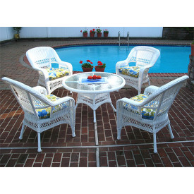 "Belaire Resin Wicker Conversation Set with 24"" High Table"