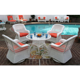 "Belaire Resin Wicker Swivel Glider Conversation Set with 24"" High Table"