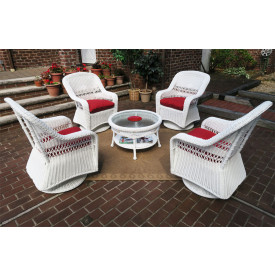 "Resin Wicker Swivel Glider Chair Conversation Set 19.5"" High Cocktail Table"