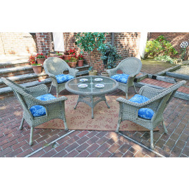 "High Back Veranda Resin Wicker Conversation Sets with 24"" High Table"