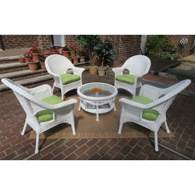 "High Back Veranda Resin Wicker Conversation Set  with 19.5"" High CoffeeTable"