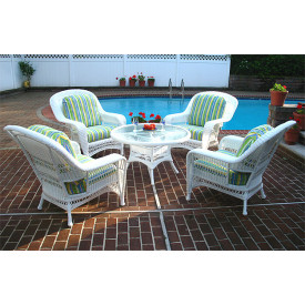 "Palm Springs Resin Wicker Conversation Sets with 24"" High Table"