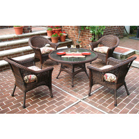 "Veranda Resin Wicker Conversation Set with 24"" High Table"