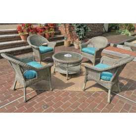 "Veranda Resin Wicker Conversation Sets with 19.5"" High Cocktail Table"