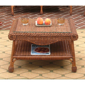 Diamond Wicker Coffee Table with Glass Top