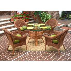 Diamond 5-Piece Round Dining Set with Glass Top