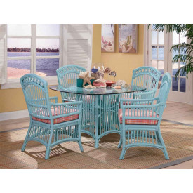 Cottage Rattan Dining Set With 4 Arm Chairs