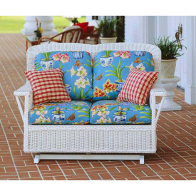 Rockport Wicker Glider Love Seat High Back