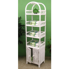 Wicker Etagere With Lower Door