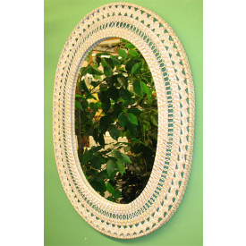 Fancy Oval Wicker Mirror
