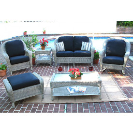 Laguna Beach (4) Pc Resin Wicker Patio Furniture with Love Seat, (2) Chairs & Cocktail Table