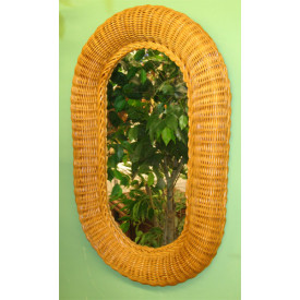 Large Oval Wicker Mirror