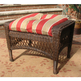 Madrid Wicker Ottoman with Cushion