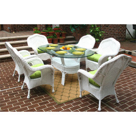 "7 Piece Naples Natural Wicker Dining Set 72"" Oval"