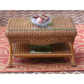 Naples Wicker Cocktail Table with Glass Top