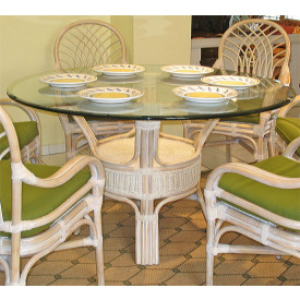 Pole Rattan 54 Round Dining Table With Gl Top