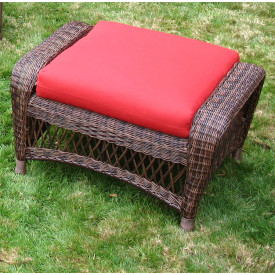 Palm Springs Wicker Ottoman with Cushion
