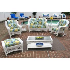5 Piece Palm Springs Resin Wicker Furniture Set, Love Seat, Chair, Ottoman, Rocker &  Cockktail Table