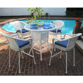 5 Piece 42 Round Resin Wicker High Dining Set With Cushions