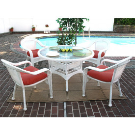 48 Round Resin Dining Set with 4-Cushioned Dining Chairs