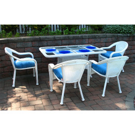 60x36 Rectangular Dining Set With 4-Cushioned Dining Chairs