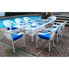96x42 Rectangular Set With 8-Cushioned Dining Chairs