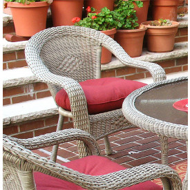 Resin Wicker Dining Chair With Cushion