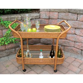Resin Wicker Serving Cart with inset Glass Shelves