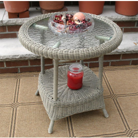 Round Resin Wicker End Table with Inset Glass Top