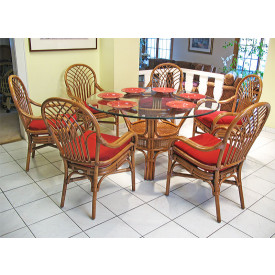 "Natural  Rattan Dining Set Savannah 54"" Round"
