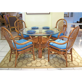 "Savannah Natural Rattan Dining Set 48"" Round"