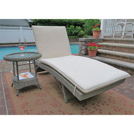 (1) Siesta Stackable Wicker Chaise with Adjustable Back and Cushion