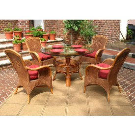 Santa Fe 5-Piece Round Dining Set with Glass Top