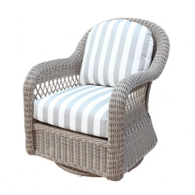 Basket Weave Swivel Glider Chair with Cushions