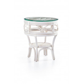 Tahiti Round Rattan End Table with Glass Top