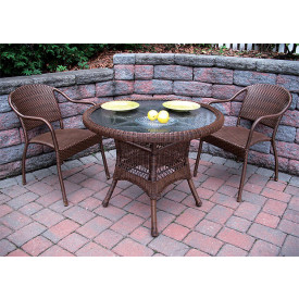 "Resin WIcker Dining Set 36"" Round,"