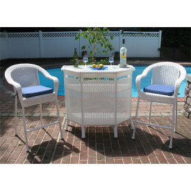 Aluminum Framed Resin Wicker  Bar Set in 4 colors