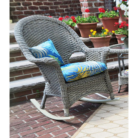 Veranda High Back Resin Wicker  Rocker With Cushion