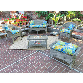4pc veranda resin wicker set with cushions - Resin Patio Furniture