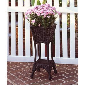 Resin Wicker Square Plant Stand