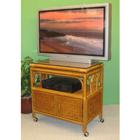 Venetian Rattan TV Stand with Swivel Top, Glass and Castors
