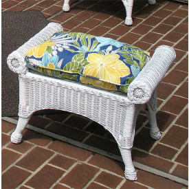Natural Wicker Bench or Ottoman, Diamond Style