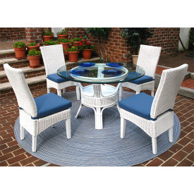 5 Piece Signature Wicker Dining Set, White or Brown