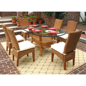 7 Piece Signature Oval Wicker Dining Set