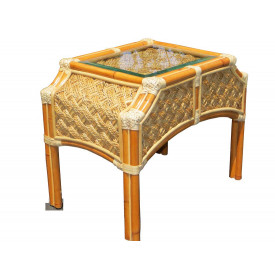 Aloha Rattan End Table with Glass Top