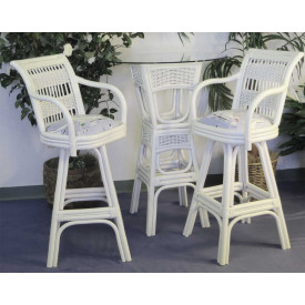 Bar Height Wicker Dining Set, Figi, 3 Pc  Natural & White