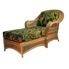 Fiji Rattan Framed Natural Wicker Chaise Lounge