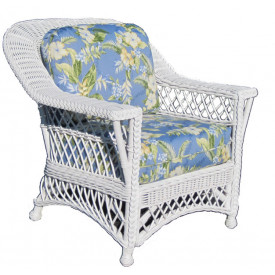 Natural Rattan Harbor Beach Wicker Lounge Chair with Cushions